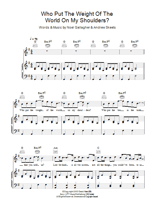 Who Put The Weight Of The World On My Shoulders? Sheet Music