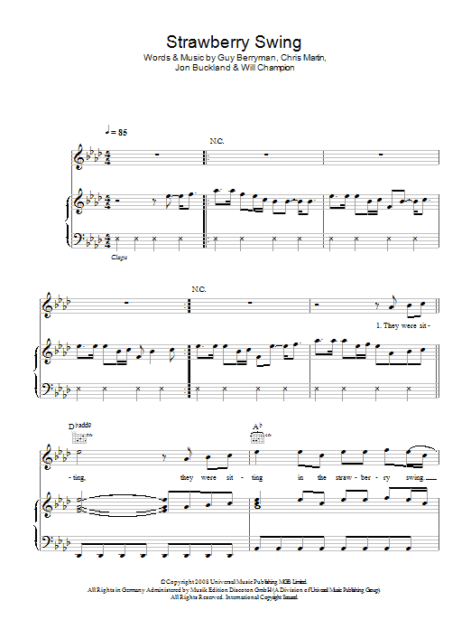 Strawberry Swing (Piano, Vocal & Guitar)