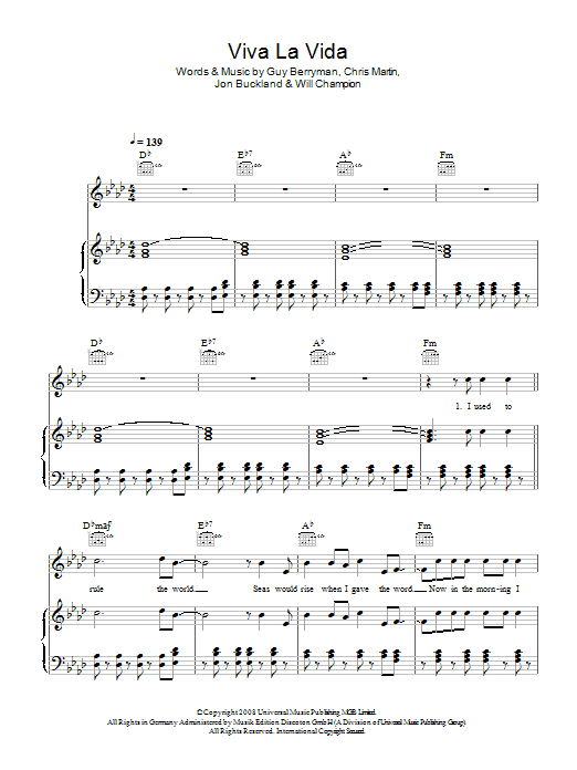 Viva La Vida (Piano, Vocal & Guitar)