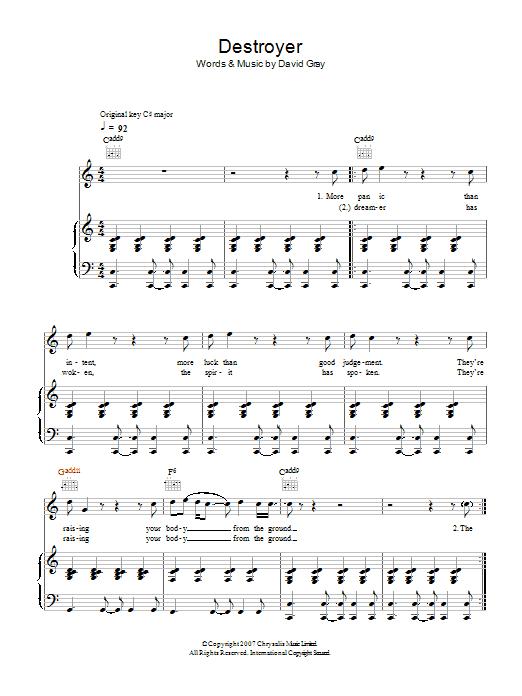 Destroyer (Piano, Vocal & Guitar)