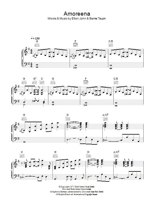 Amoreena (Piano, Vocal & Guitar)