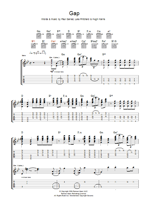 Gap Sheet Music