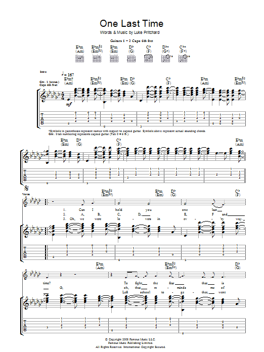 One Last Time by The Kooks - Guitar Tab - Guitar Instructor