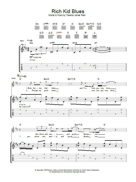 Rich Kid Blues (Guitar Tab)