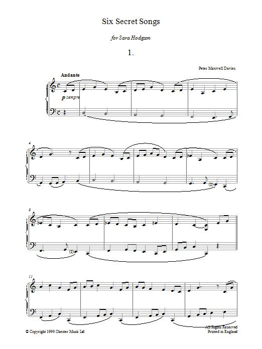 Six Secret Songs, No.1, Andante Sheet Music