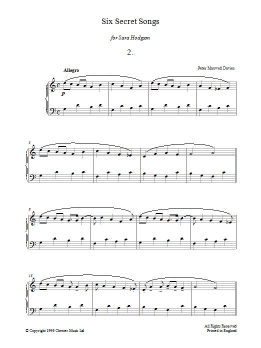 Six Secret Songs, No.2, Allegro Sheet Music