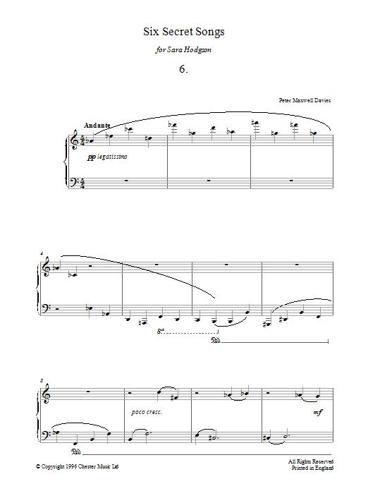 Six Secret Songs, No.6, Andante (Piano Solo)