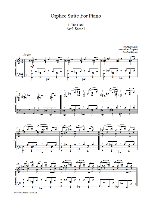 Orphee Suite For Piano, I. The Cafe, Act I, Scene 1 (Piano Solo)