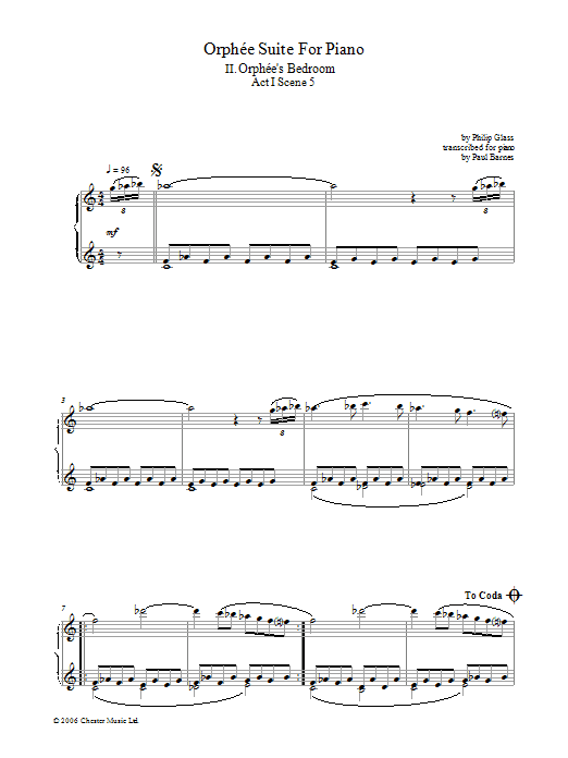 Orphee Suite For Piano, II. Orphee's Bedroom, Act I, Scene 5 (Piano Solo)
