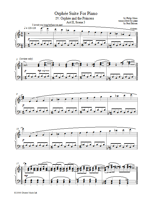 Orphee Suite For Piano, IV. Orphee And The Princess, Act II, Scene 3 (Piano Solo)