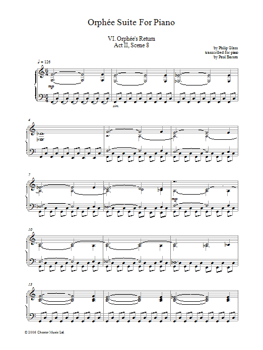 Orphee Suite For Piano, VI. Orphee's Return, Act II, Scene 8 (Piano Solo)