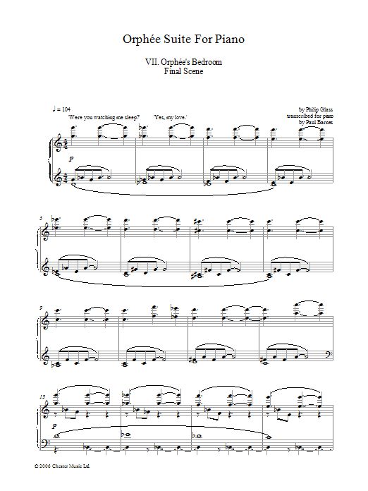 Orphee Suite For Piano, VII. Orphee's Bedroom Final Scene (Piano Solo)
