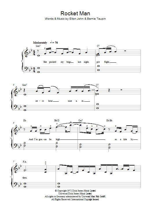 Rocket Man Sheet Music | Elton John | Beginner Piano