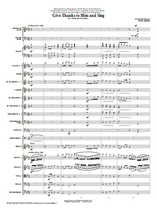 Give Thanks To Him And Sing (COMPLETE) sheet music for orchestra/band (Orchestra) by Cindy Berry. Score Image Preview.