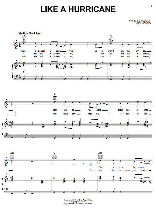 Like A Hurricane (Piano, Vocal & Guitar (Right-Hand Melody))