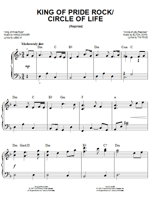 King Of Pride Rock Sheet Music