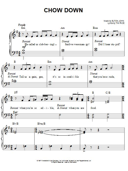 Partition piano Chow Down de Elton John - Piano Facile