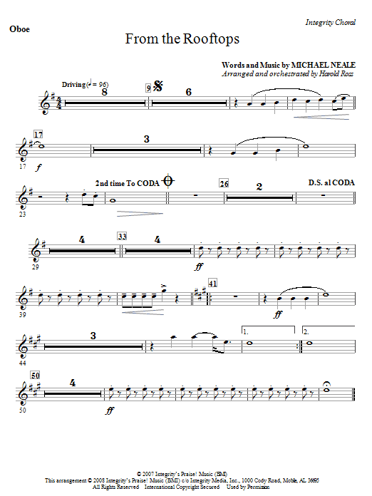 From The Rooftops - Oboe Sheet Music