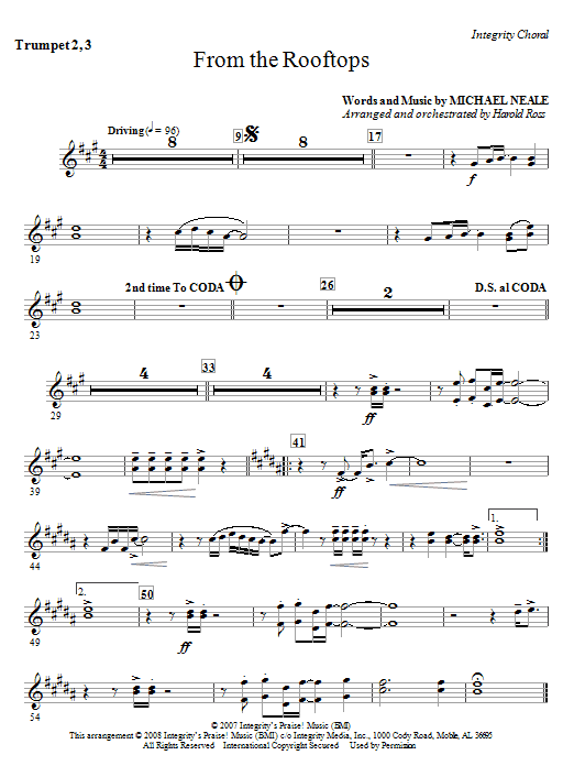 From The Rooftops - Bb Trumpet 2,3 Sheet Music