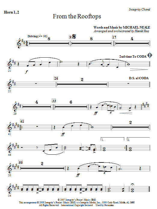 From The Rooftops - Horn 1 & 2 Sheet Music