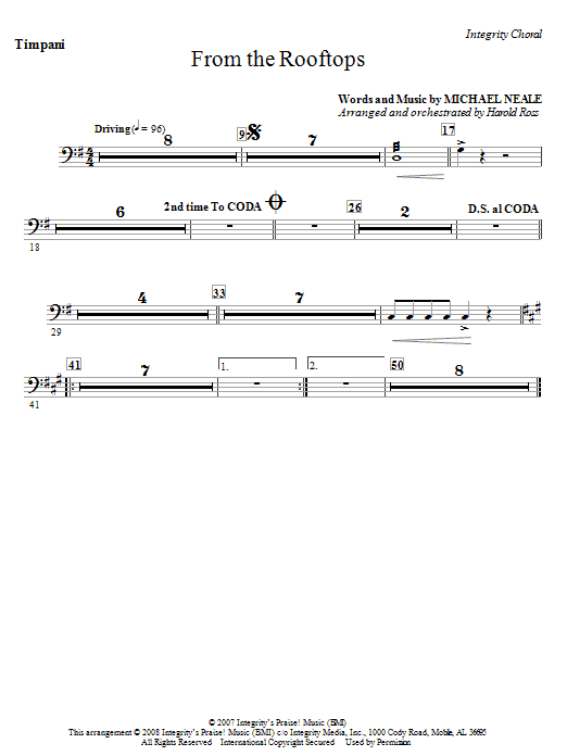 From The Rooftops - Timpani Sheet Music