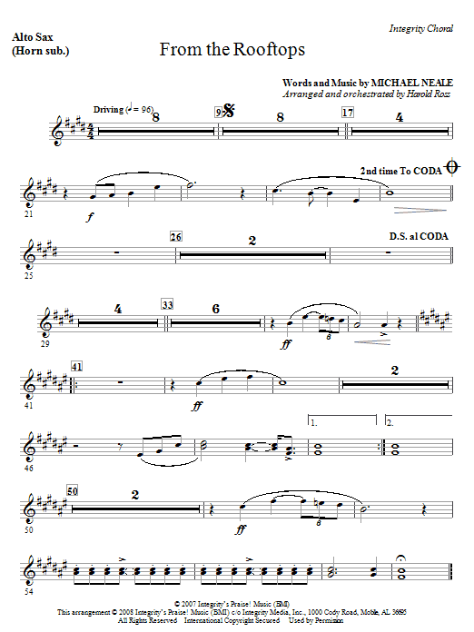 From The Rooftops - Alto Sax 1 & 2 (Sub. Horn) Sheet Music