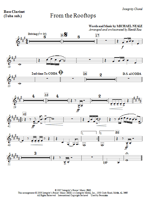 From The Rooftops - Bass Clarinet (sub. Tuba) Sheet Music