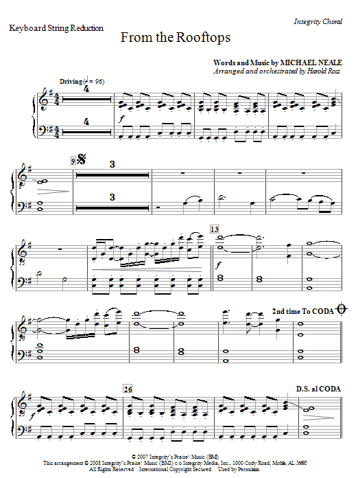 From The Rooftops - Keyboard String Reduction Sheet Music