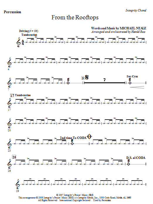 From The Rooftops - Percussion Sheet Music