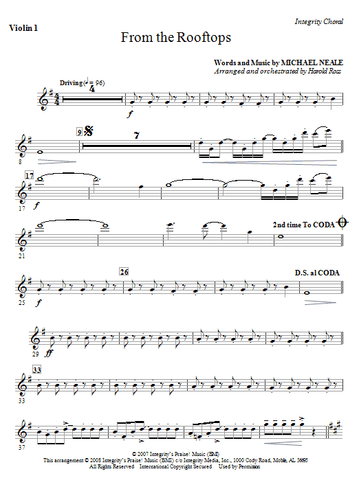 From The Rooftops - Violin 1 Sheet Music