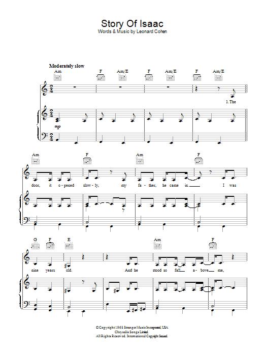 Story Of Isaac (Piano, Vocal & Guitar)