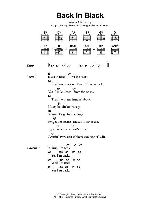 Guitar guitar tabs back in black : Back In Black by AC/DC - Guitar Chords/Lyrics - Guitar Instructor