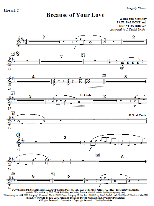 Because Of Your Love - Horn 1 & 2 Sheet Music