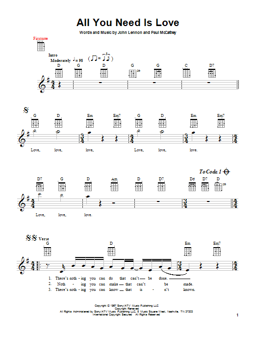 Tablature guitare All You Need Is Love de The Beatles - Ukulele