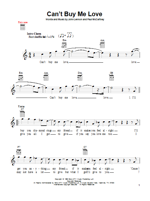 Tablature guitare Can't Buy Me Love de The Beatles - Ukulele