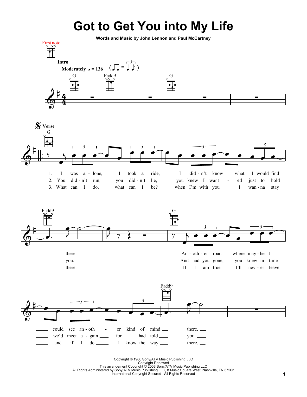 Tablature guitare Got To Get You Into My Life de The Beatles - Ukulele
