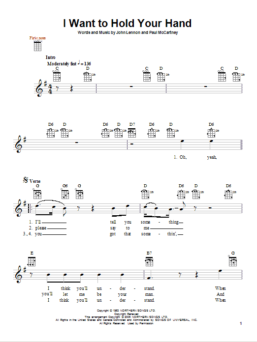 Tablature guitare I Want To Hold Your Hand de The Beatles - Ukulele