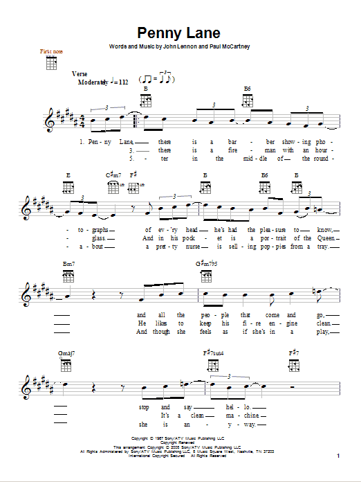 how to play penny lane on guitar