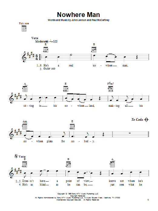Tablature guitare Nowhere Man de The Beatles - Ukulele