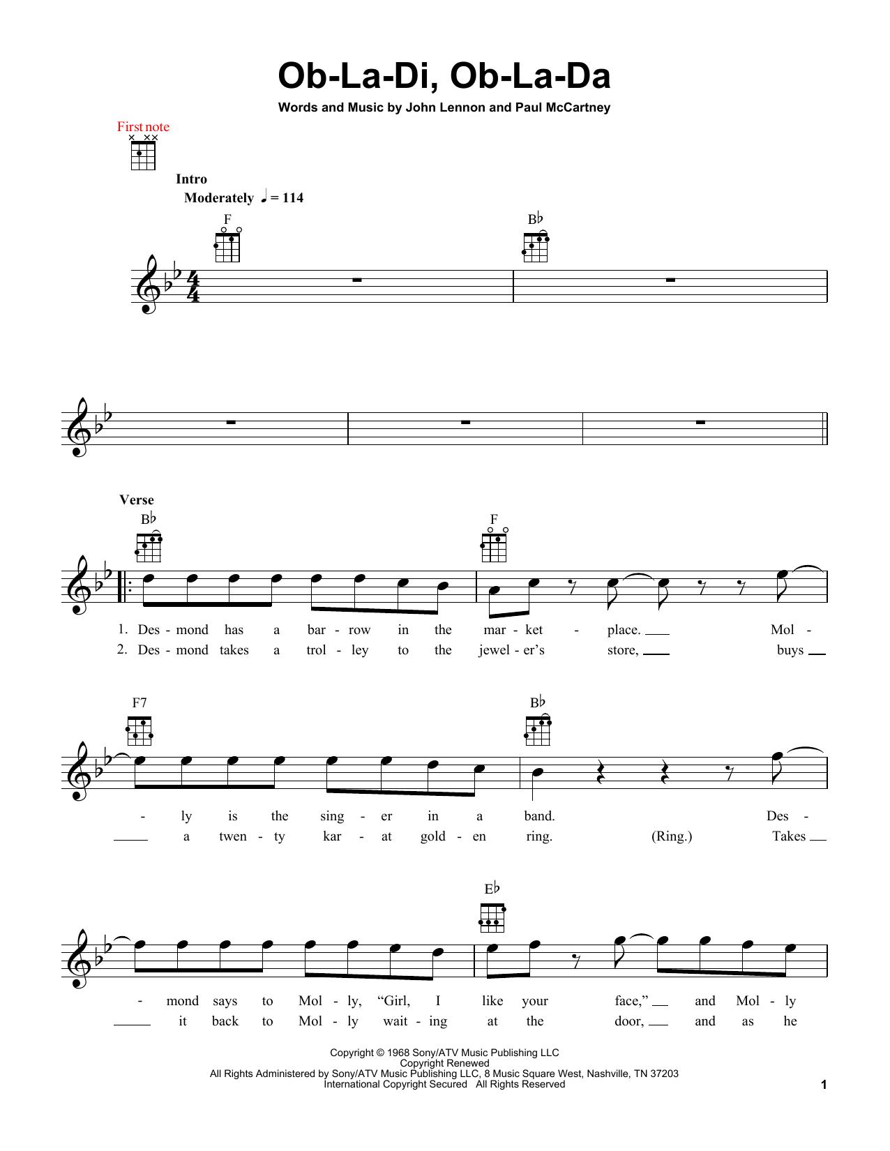 Ob-La-Di, Ob-La-Da Sheet Music
