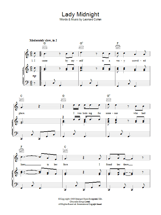 Lady Midnight (Piano, Vocal & Guitar)