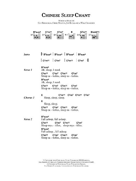 Chinese Sleep Chant Sheet Music