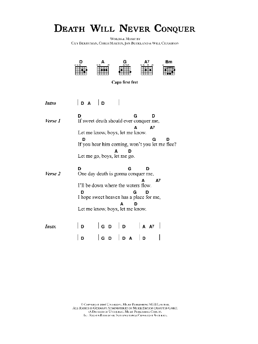 Death Will Never Conquer Coldplay Lyrics Chords