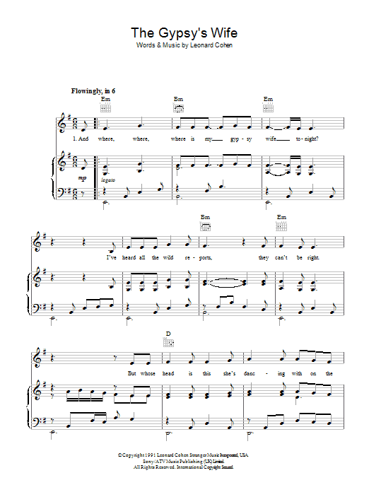 The Gypsy's Wife (Piano, Vocal & Guitar)