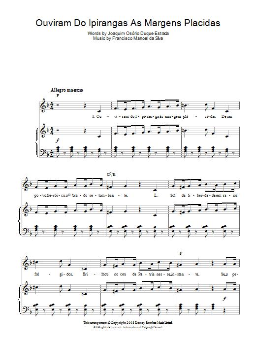 Ouviram Do Ipirangas As Margens Placidas (Brazilian National Anthem) Sheet Music