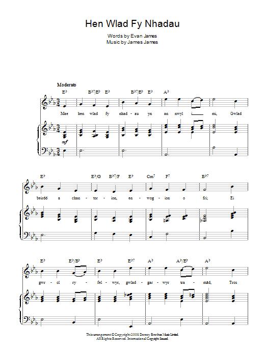 Hen Wlad Fy Nhadau (Welsh National Anthem) Sheet Music