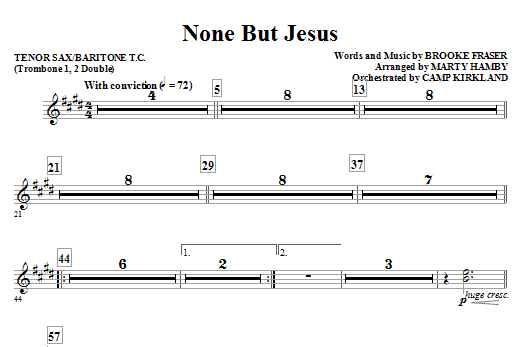 None But Jesus - Tenor Sax 1,2/Baritone TC 1,2 (Choir Instrumental Pak)