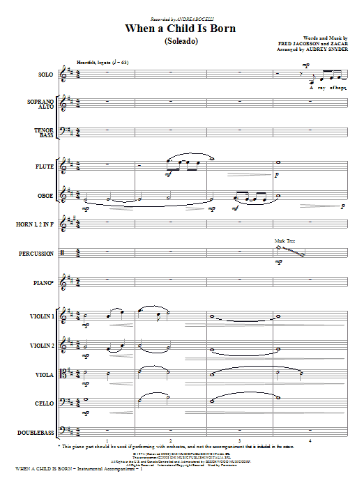 When A Child Is Born (Soleado) (COMPLETE) sheet music for orchestra/band (chamber ensemble) by Audrey Snyder, Andrea Bocelli, Fred Jacobson and Zacar. Score Image Preview.