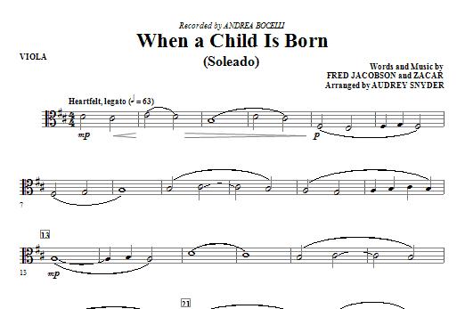 When A Child Is Born (Soleado) - Viola Sheet Music