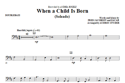When A Child Is Born (Soleado) - String Bass Sheet Music